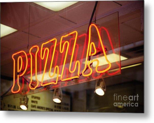 Neon Pizza Sign On Window At Night