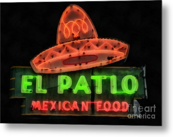 Metal Print featuring the painting Neon Sign Series Mexican Food Austin Texas by Edward Fielding