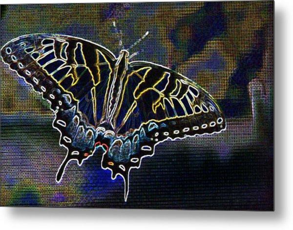 Neon Swallowtail Butterfly Metal Print