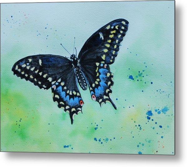 Neon Swallowtail Metal Print