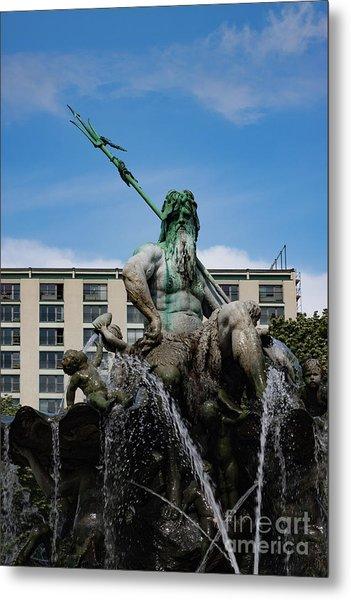 Neptune Statue Metal Print