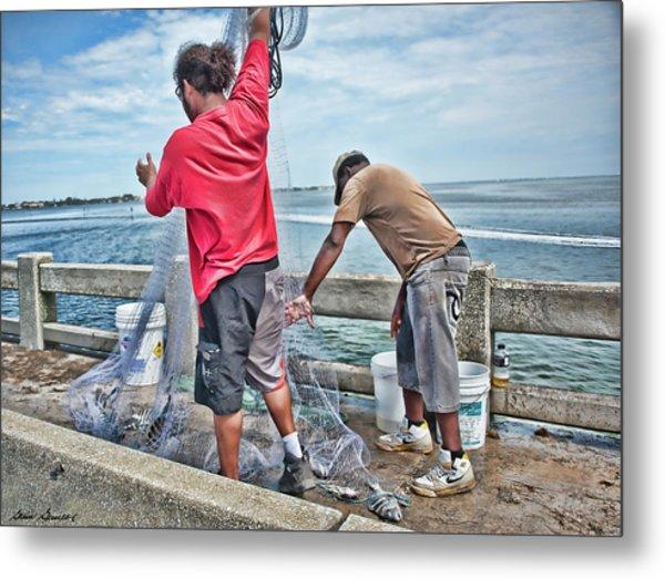 Net Fishing On Cortez Bridge  Metal Print
