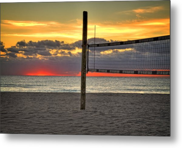 Netting The Sunrise Metal Print