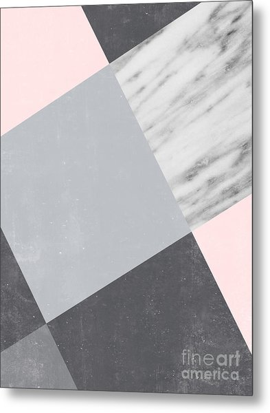 Neutral Collage With Marble Metal Print