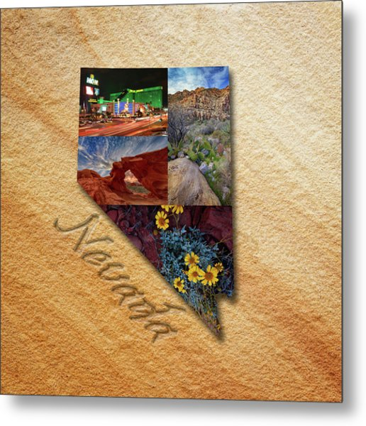 Nevada State Map Collage Metal Print