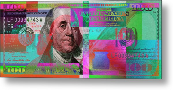 New 2009 Series Pop Art Colorized Us One Hundred Dollar Bill  No. 3 Metal Print
