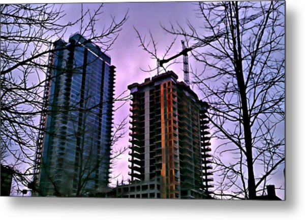New Construction, Two Towers Metal Print