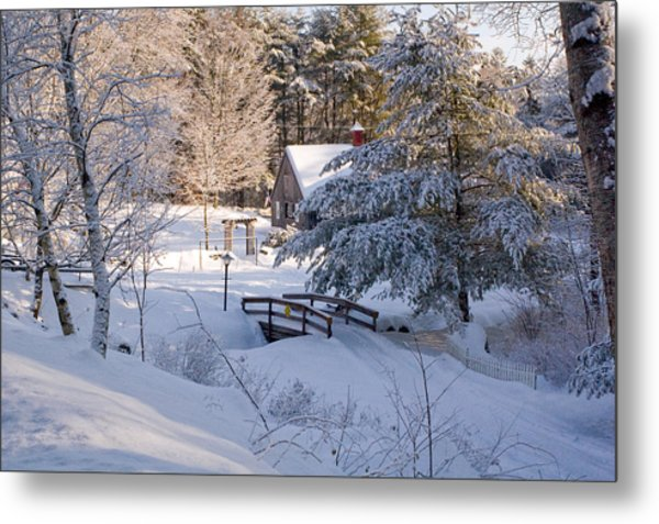 New England House And Forest In The Snow Metal Print by David Thompson