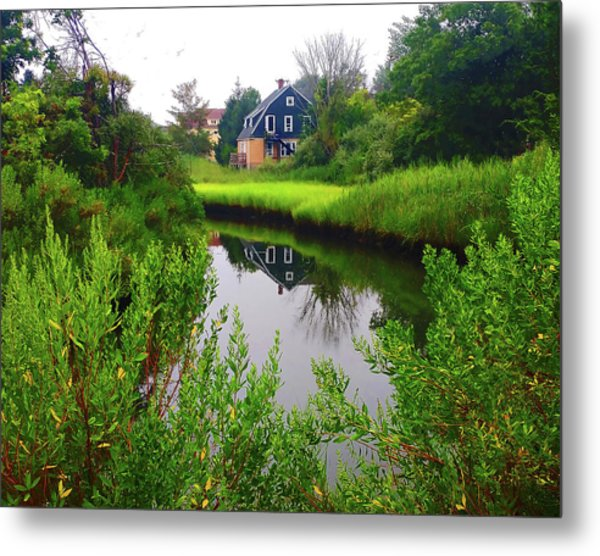 New England House And Stream Metal Print