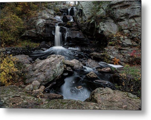New England Waterfall In Autumn Metal Print
