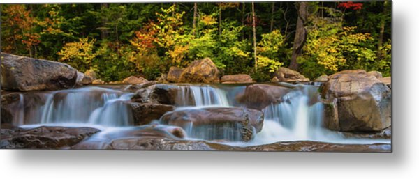 New Hampshire White Mountains Swift River Waterfall In Autumn With Fall Foliage Metal Print