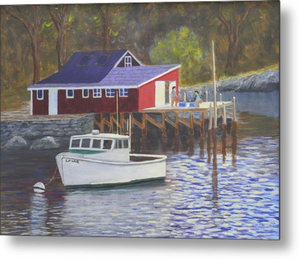 New Harbor Sunrise Metal Print