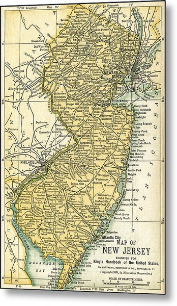New Jersey Antique Map 1891 Metal Print