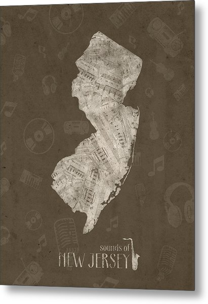 New Jersey Map Music Notes 3 Metal Print