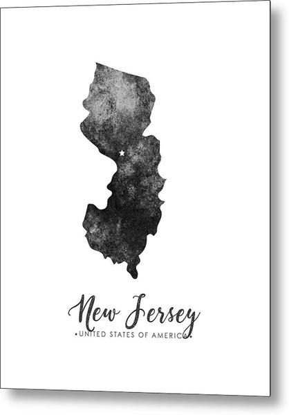 New Jersey State Map Art - Grunge Silhouette Metal Print