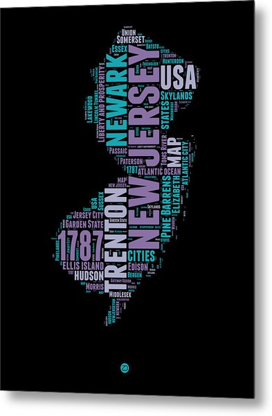 New Jersey Word Cloud 1 Metal Print