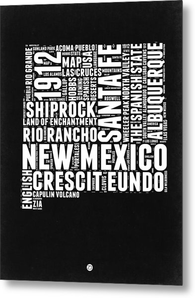 New Mexico Black And White Word Cloud Map Metal Print