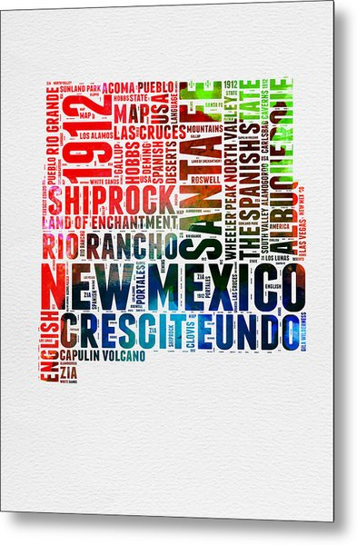 New Mexico Watercolor Word Map Metal Print