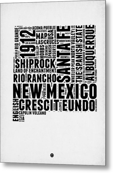 New Mexico Word Cloud Map 2 Metal Print