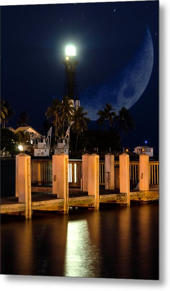 New Moon At Hillsboro Inlet Lighthouse Metal Print