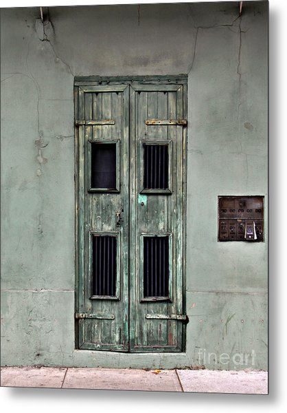 New Orleans Green Doors Metal Print
