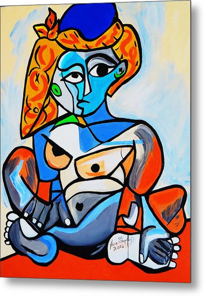 New  Picasso By Nora  Nude Woman With Turkish Bonnet Metal Print
