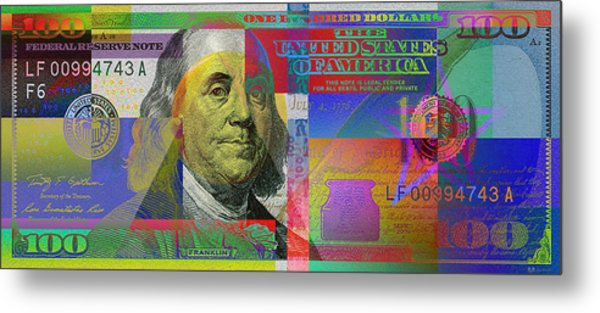 New Pop-colorized One Hundred Us Dollar Bill Metal Print