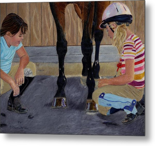 New Shoe Review Horse And Children Painting Metal Print