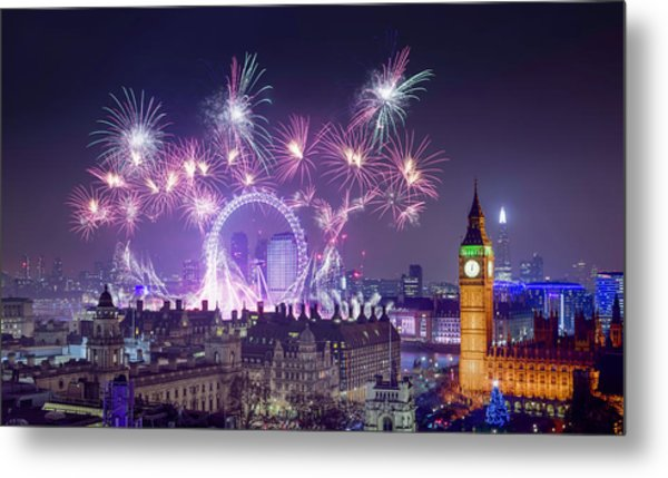 New Year Fireworks London Metal Print