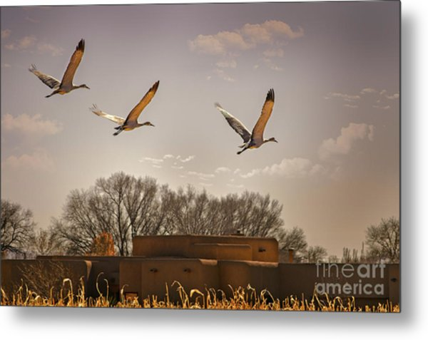 Flight Of The Cranes Metal Print