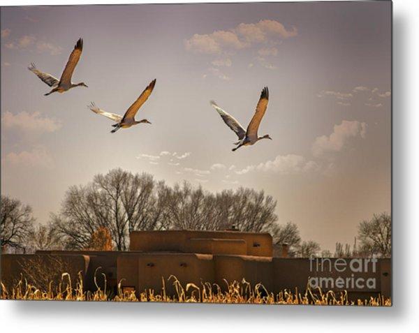 Flight Of The Cranes Metal Print