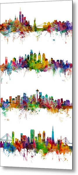 New York, Philadelphia, Seattle And San Francisco Skylines Metal Print