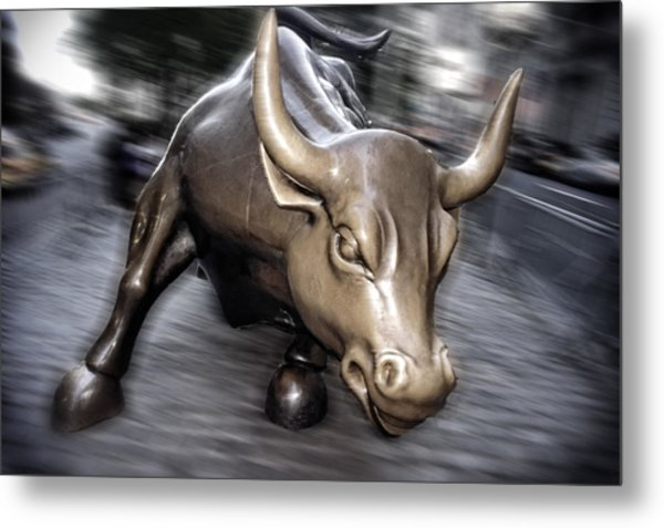 Metal Print featuring the photograph New York Bull Of Wall Street by Juergen Held