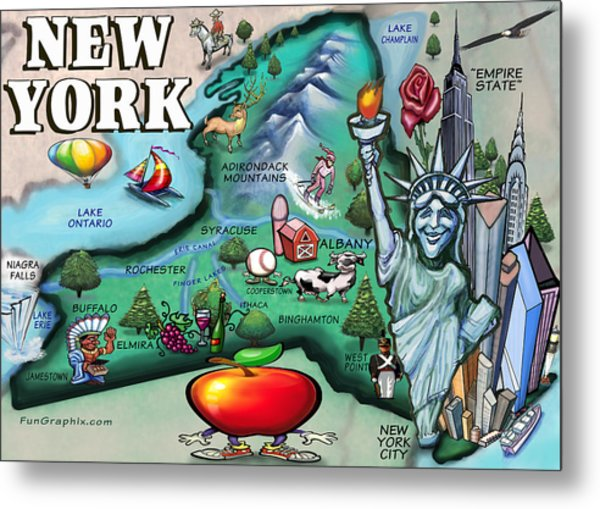 New York Cartoon Map Metal Print