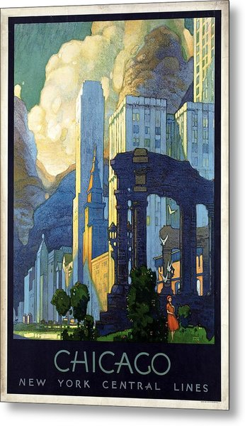 New York Central Lines, Chicago - Retro Travel Poster - Vintage Poster Metal Print