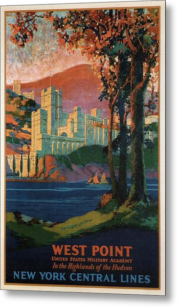 New York Central Lines - West Point - Retro Travel Poster - Vintage Poster Metal Print