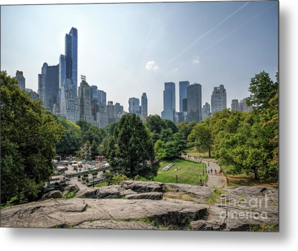 New York Central Park With Skyline Metal Print