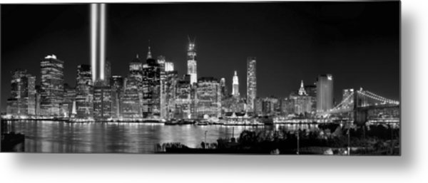 New York City Bw Tribute In Lights And Lower Manhattan At Night Black And White Nyc Metal Print