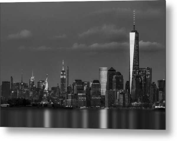 Metal Print featuring the photograph New York City Icons Bw by Susan Candelario