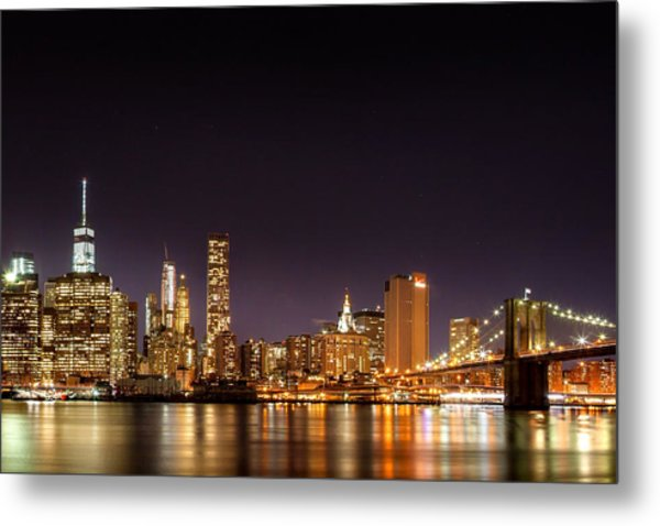 New York City Lights At Night Metal Print