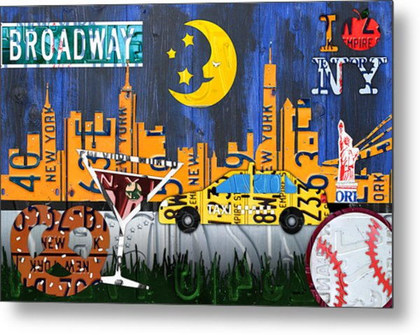 New York City Nyc The Big Apple License Plate Art Collage No 1 Metal Print
