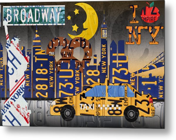 New York City Nyc The Big Apple License Plate Art Collage No 2 Metal Print