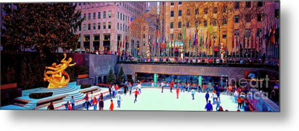 New York City Rockefeller Center Ice Rink  Metal Print