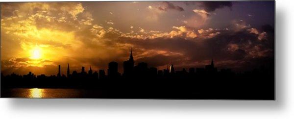 New York City Skyline At Sunset Panorama Metal Print