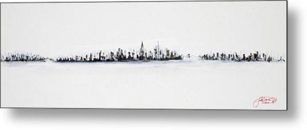 New York City Skyline Black And White Metal Print