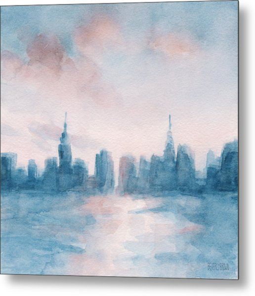 New York City Skyline Coral And Aqua Metal Print