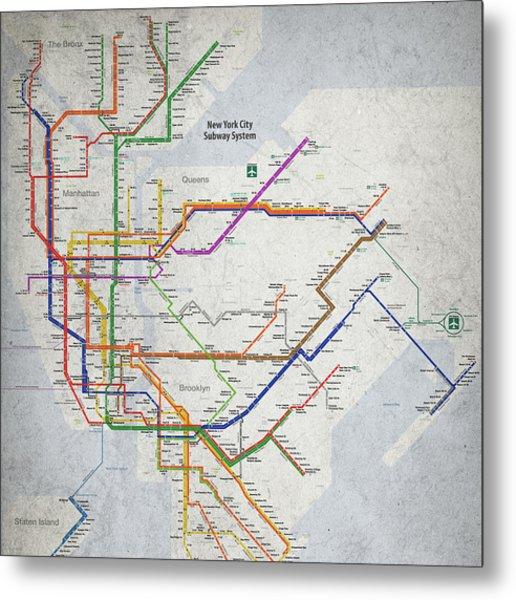 New York City Subway Map Metal Print