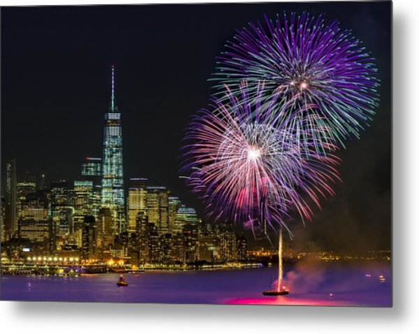 New York City Summer Fireworks Metal Print