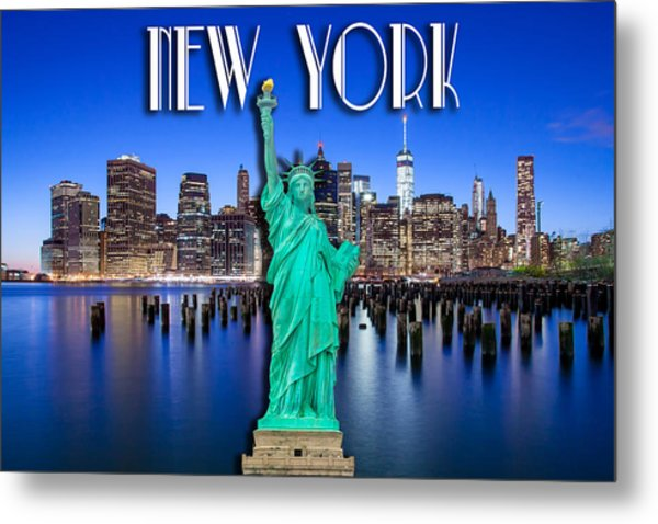 New York Classic Skyline With Statue Of Liberty Metal Print