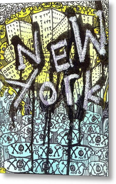 New York Graffiti Scene Metal Print